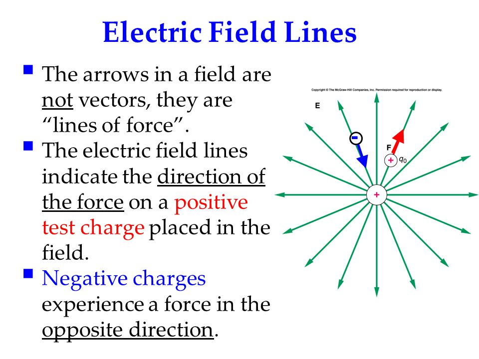 Electric Field Lines The arrows in a field are not vectors, they are lines of force .