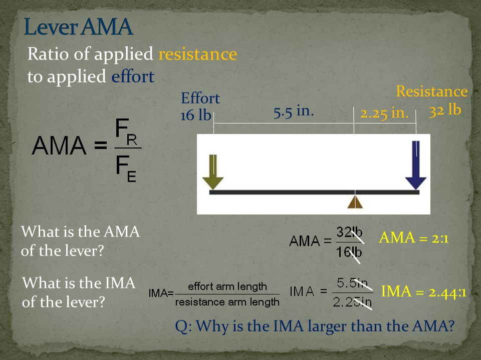 Lever AMA Ratio of applied resistance to applied effort Resistance