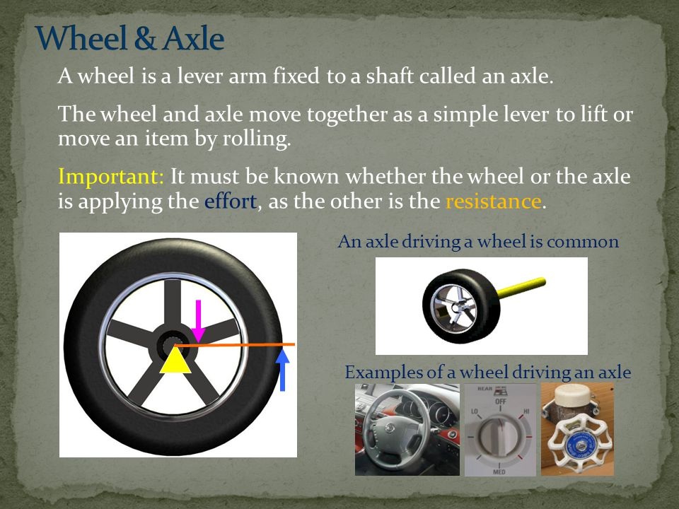 Wheel & Axle A wheel is a lever arm fixed to a shaft called an axle.
