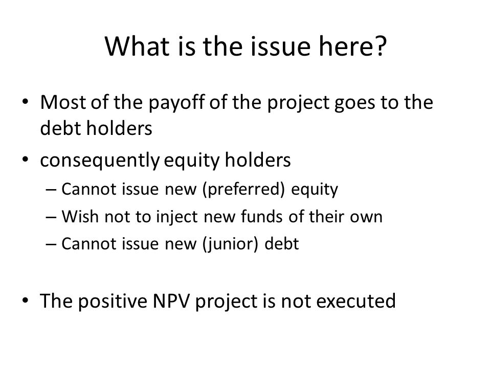 What is the issue here Most of the payoff of the project goes to the debt holders. consequently equity holders.