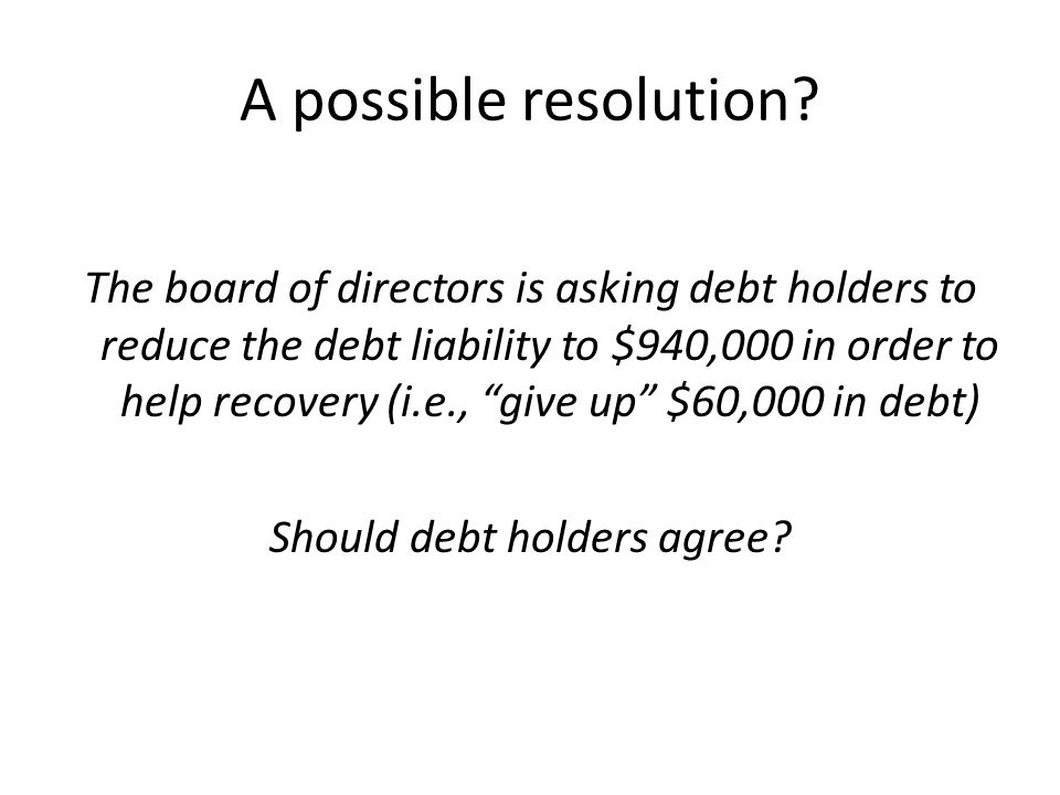 Should debt holders agree