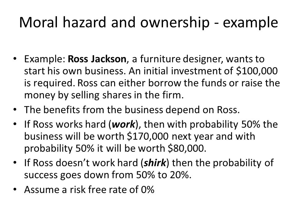 Moral hazard and ownership - example