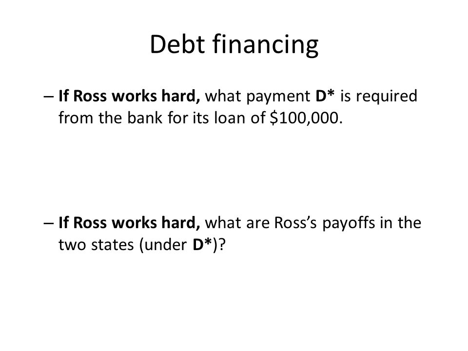 Debt financing If Ross works hard, what payment D* is required from the bank for its loan of $100,000.