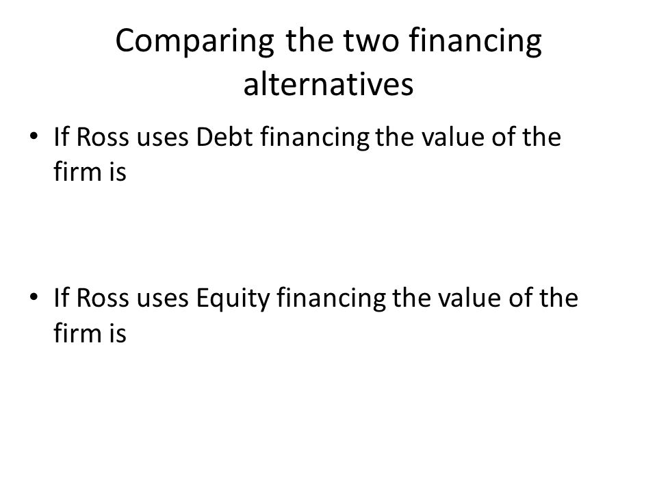 Comparing the two financing alternatives