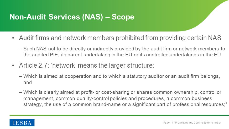 Non-Audit Services (NAS) – Scope