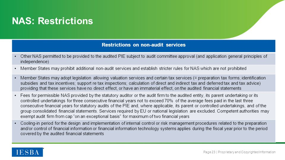 Restrictions on non-audit services