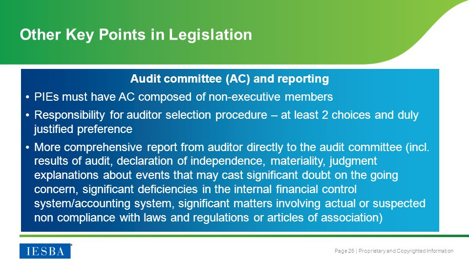 Other Key Points in Legislation
