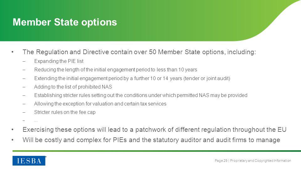 Member State options The Regulation and Directive contain over 50 Member State options, including: Expanding the PIE list.