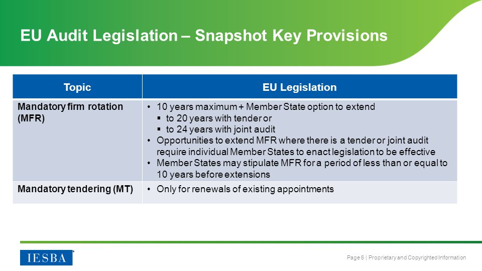 EU Audit Legislation – Snapshot Key Provisions