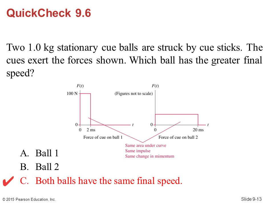 QuickCheck 9.6 Two 1.0 kg stationary cue balls are struck by cue sticks. The cues exert the forces shown. Which ball has the greater final speed