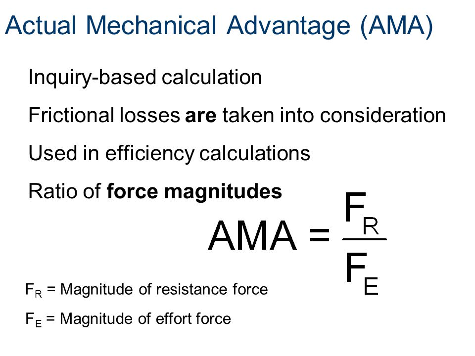 Actual Mechanical Advantage (AMA)