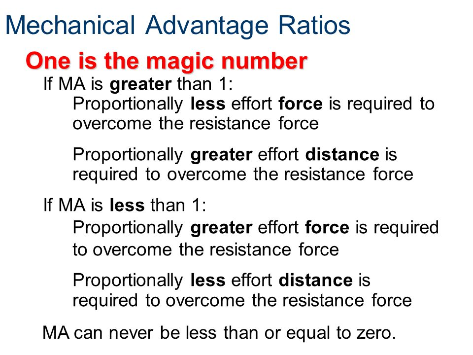 Mechanical Advantage Ratios