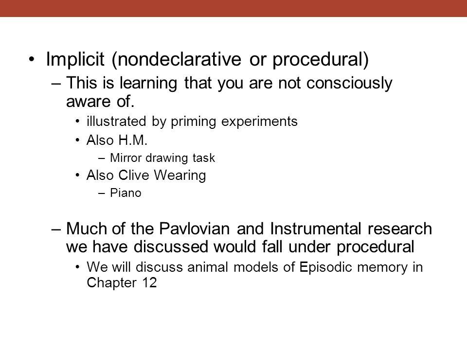 Implicit (nondeclarative or procedural)