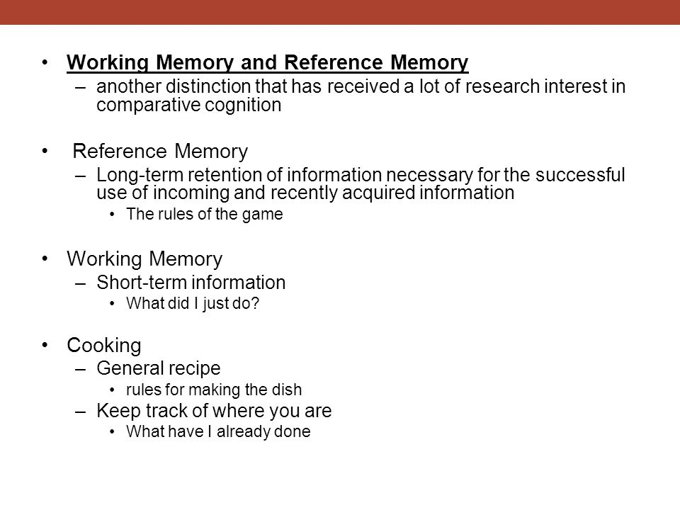 Working Memory and Reference Memory