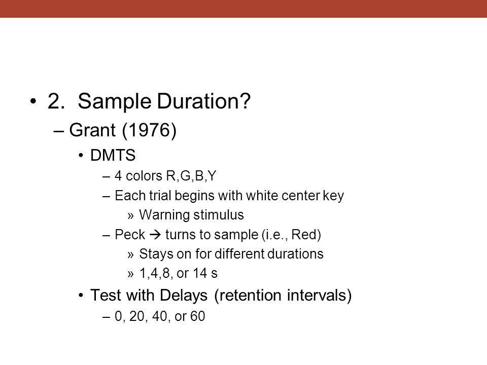 2. Sample Duration Grant (1976) DMTS