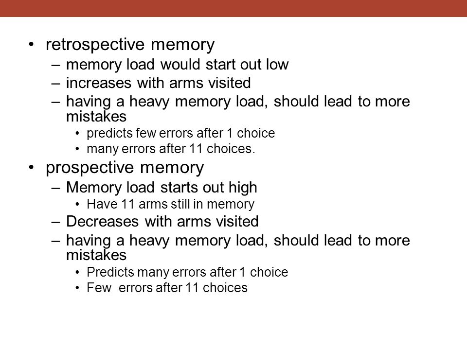retrospective memory prospective memory