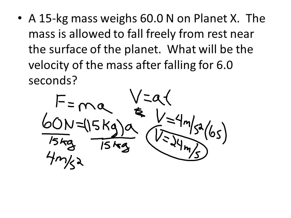 A 15-kg mass weighs 60. 0 N on Planet X