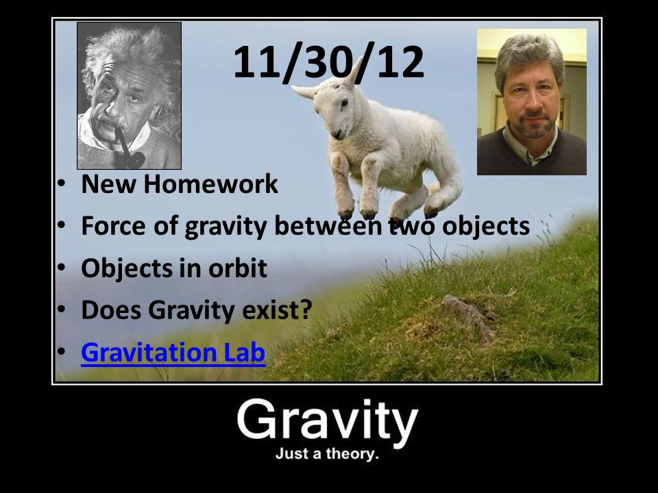 11/30/12 New Homework Force of gravity between two objects
