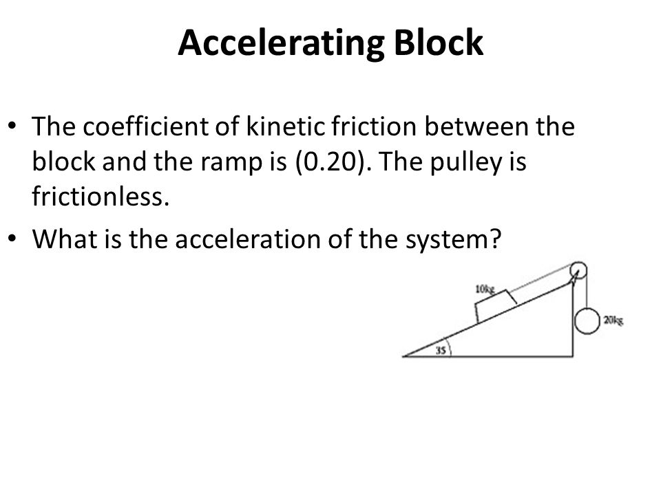 Accelerating Block The coefficient of kinetic friction between the block and the ramp is (0.20). The pulley is frictionless.