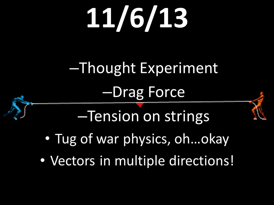 11/6/13 Thought Experiment Drag Force Tension on strings