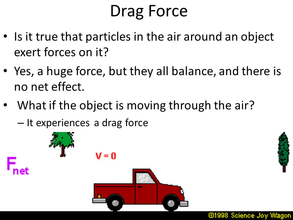 Drag Force Is it true that particles in the air around an object exert forces on it