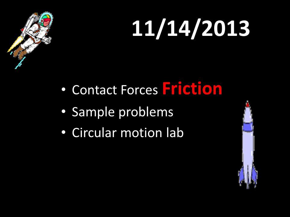 11/14/2013 Contact Forces Friction Sample problems Circular motion lab