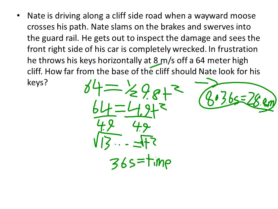 Nate is driving along a cliff side road when a wayward moose crosses his path. Nate slams on the brakes and swerves into the guard rail. He gets out to inspect the damage and sees the front right side of his car is completely wrecked. In frustration he throws his keys horizontally at 8 m/s off a 64 meter high cliff. How far from the base of the cliff should Nate look for his keys