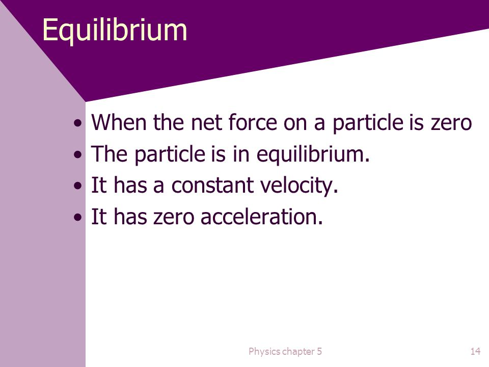 Equilibrium When the net force on a particle is zero