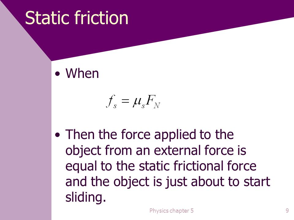 Static friction When.