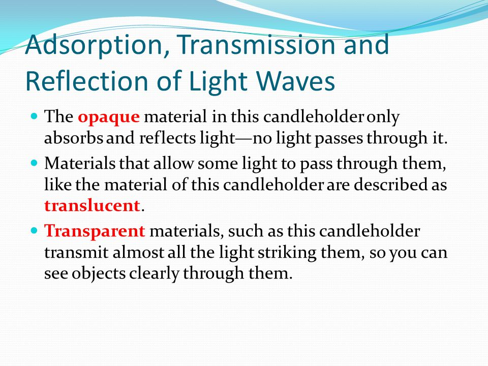Adsorption, Transmission and Reflection of Light Waves