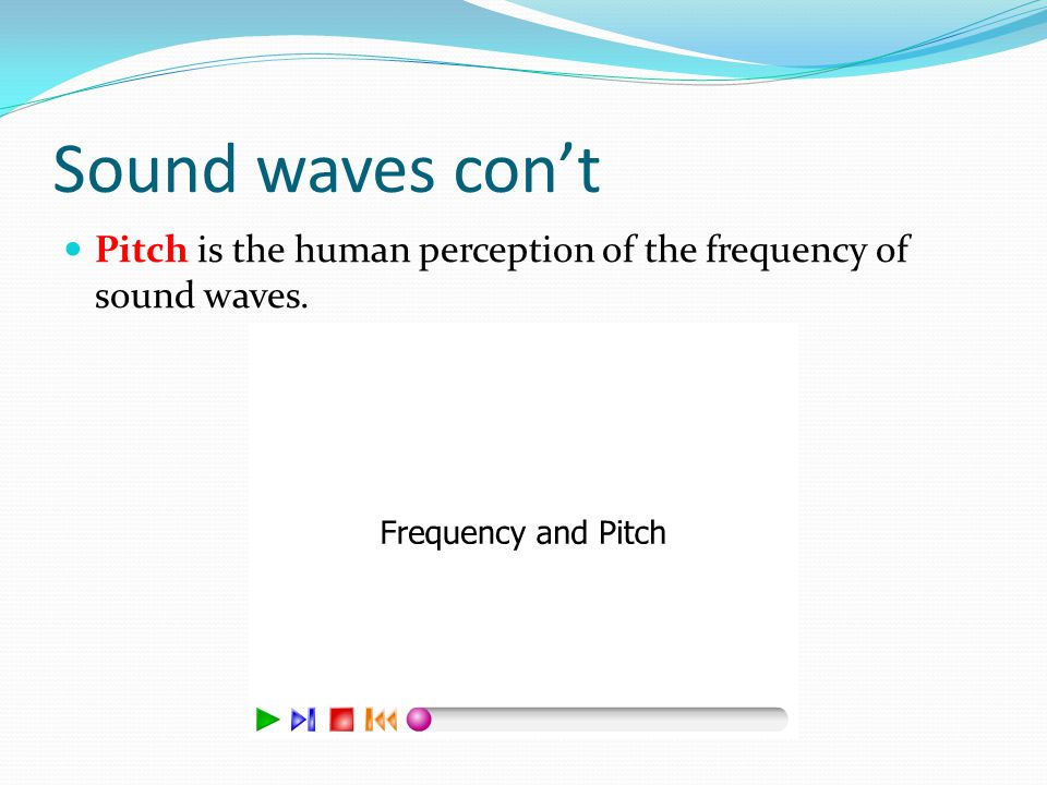 Sound waves con't Pitch is the human perception of the frequency of sound waves.