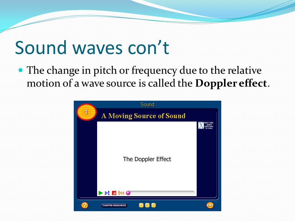 Sound waves con't The change in pitch or frequency due to the relative motion of a wave source is called the Doppler effect.