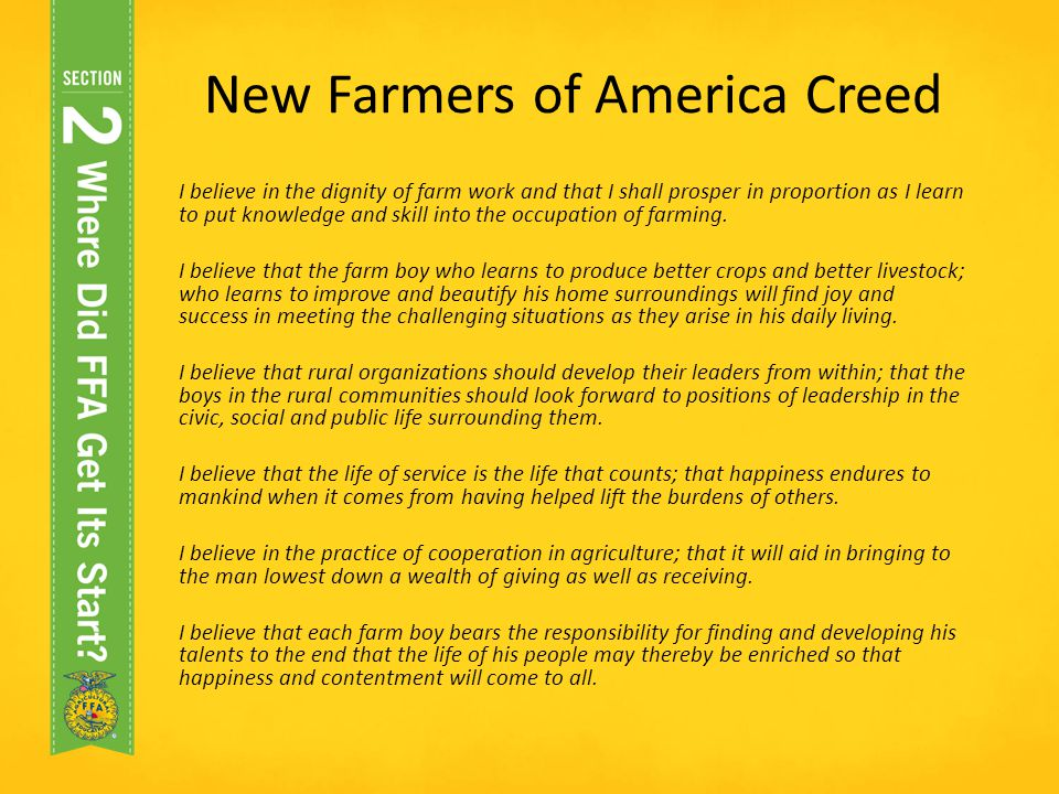 New Farmers of America Creed