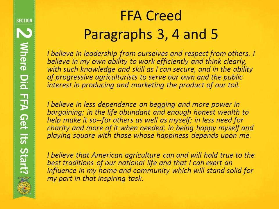 FFA Creed Paragraphs 3, 4 and 5