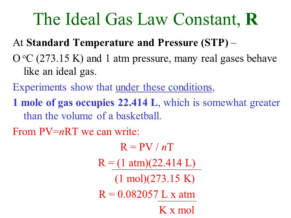The Ideal Gas Law Constant, R