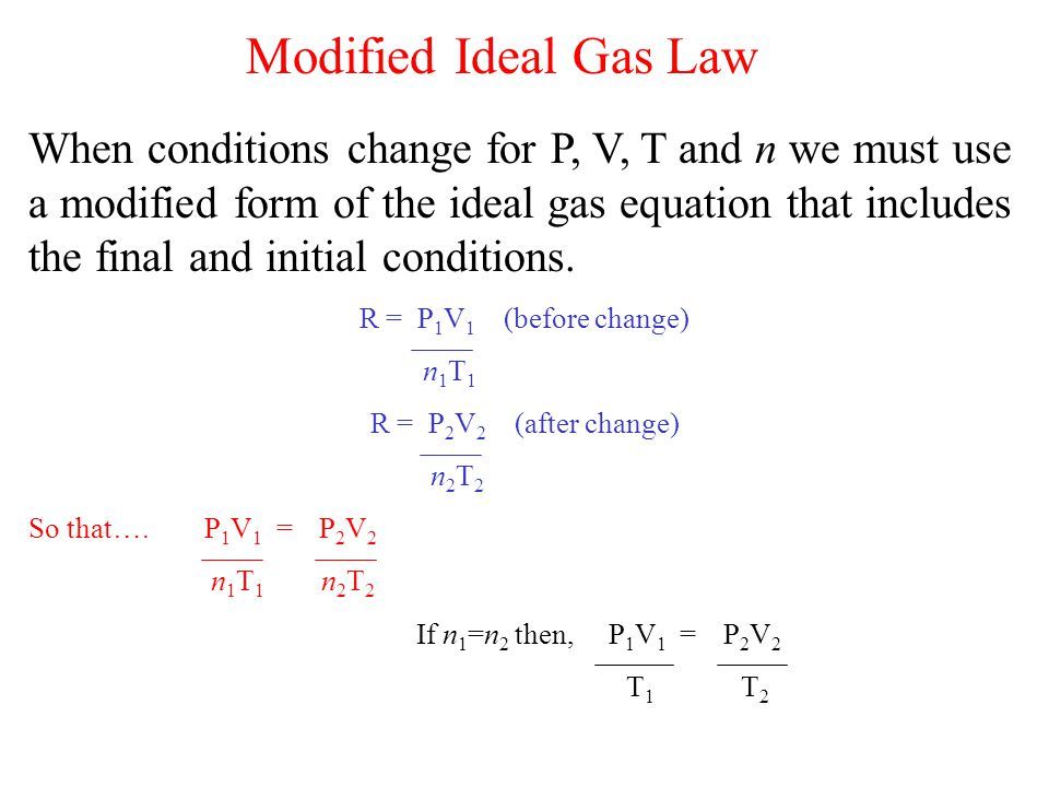 Modified Ideal Gas Law
