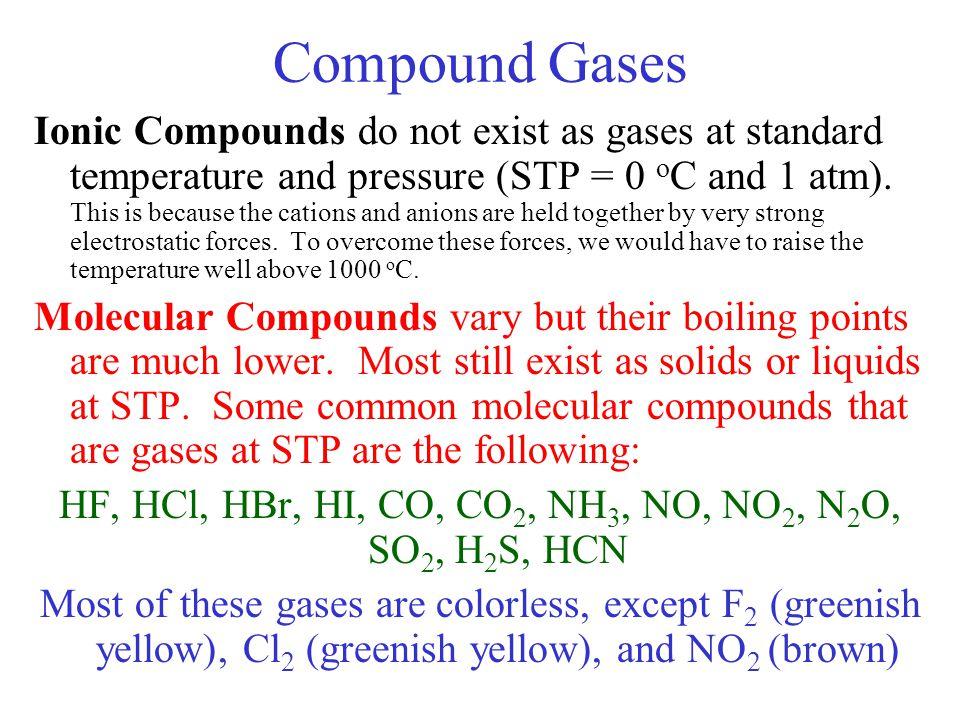 HF, HCl, HBr, HI, CO, CO2, NH3, NO, NO2, N2O, SO2, H2S, HCN