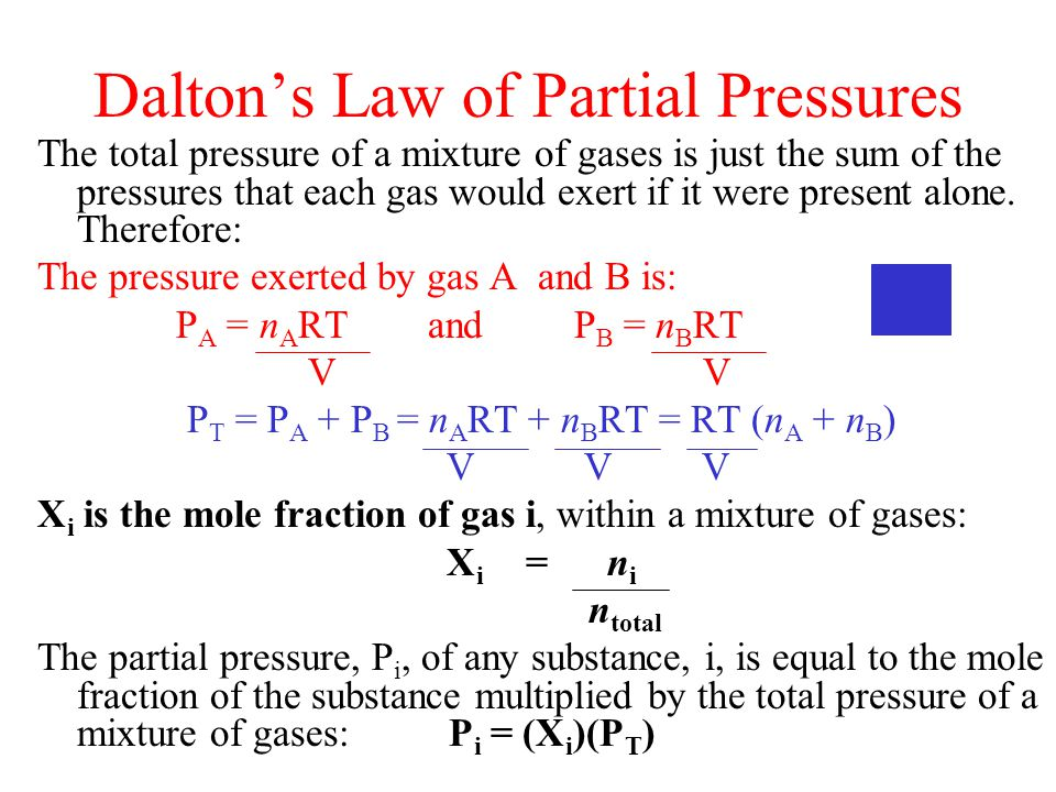 daltons law of partial pressure essay Dalton's law of partial pressures dalton's law of partial pressures states that the total pressure of a mixture of gases equals the sum of the pressures that each gas would exert if it was present alo.