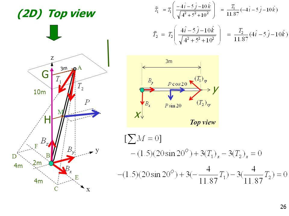 (2D) Top view z 3m A 3m G y 10m M x H Top view F y D B 2m 4m E 4m C x