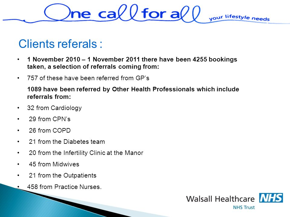 Clients referals : 1 November 2010 – 1 November 2011 there have been 4255 bookings taken, a selection of referrals coming from: