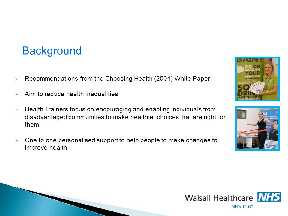 Background Recommendations from the Choosing Health (2004) White Paper