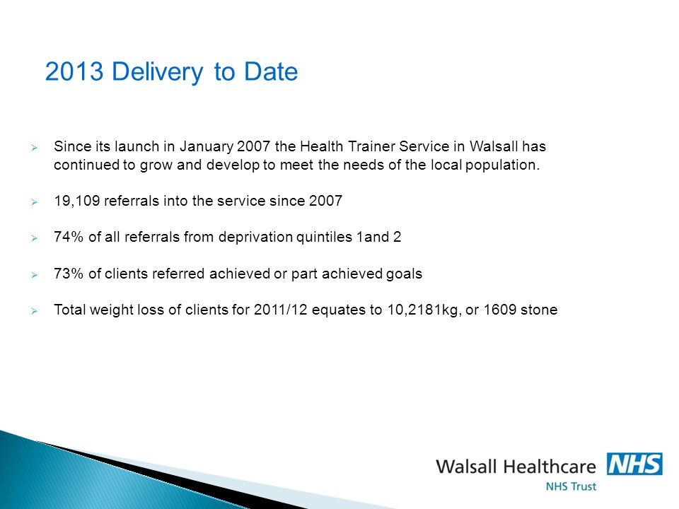2013 Delivery to Date Since its launch in January 2007 the Health Trainer Service in Walsall has.