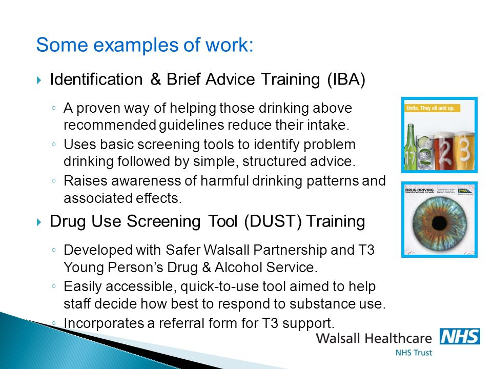 Some examples of work: Identification & Brief Advice Training (IBA)