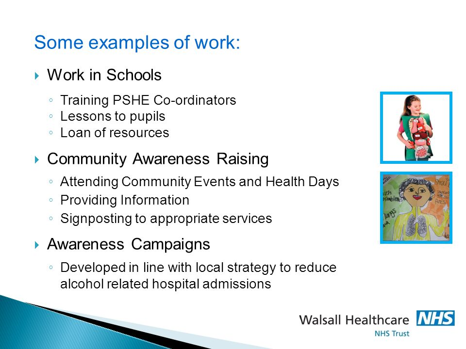 Some examples of work: Work in Schools Community Awareness Raising