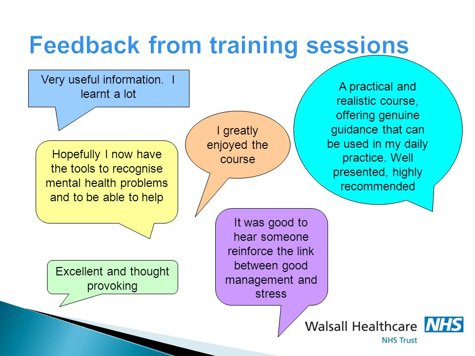Feedback from training sessions