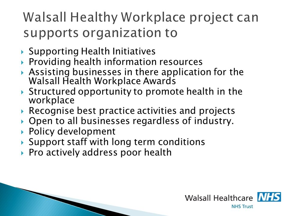Walsall Healthy Workplace project can supports organization to