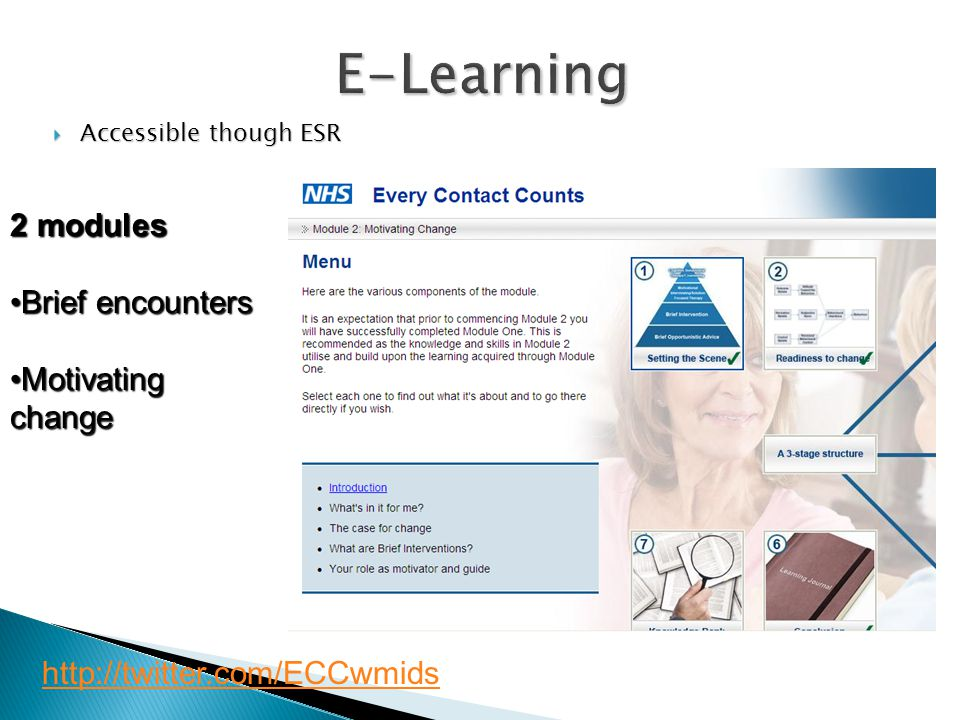 E-Learning 2 modules Brief encounters Motivating change