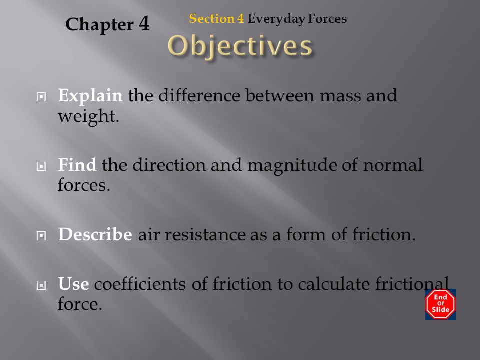 Objectives Chapter 4 Explain the difference between mass and weight.
