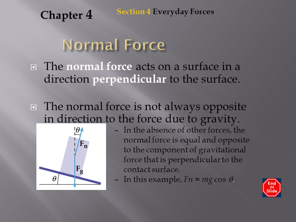 Chapter 4 Section 4 Everyday Forces. Normal Force. The normal force acts on a surface in a direction perpendicular to the surface.