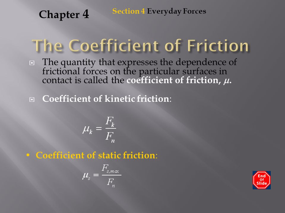 The Coefficient of Friction